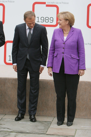 chancellor: KRAKOW, POLAND - JUNE 04, 2009: 20th Anniversary of the collapse of Communism in Central Europe op Polish Prime Minister Donald Tusk Chancellor of Germany Angela Merkel