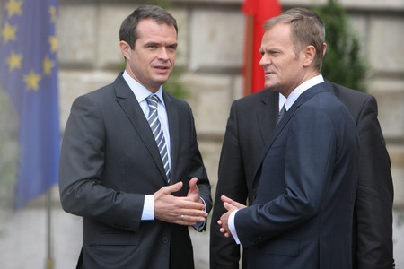KRAKOW, POLAND - JUNE 04, 2009: 20th Anniversary of the collapse of Communism in Central Europe o/p Polish Prime Minister Donald Tusk Slawomir Nowak Editorial