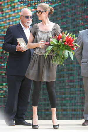KRAKOW, POLAND - JUNE 28, 2008: Avenue of Stars Radio RMF FM, op Celine Dion Rene Angelil Editorial