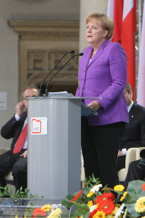 chancellor: KRAKOW, POLAND - JUNE 04, 2009: 20th Anniversary of the collapse of Communism in Central Europe op Chancellor of Germany Angela Merkel