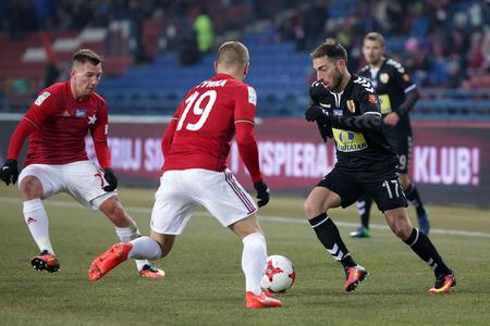 KRAKOW, POLAND - FEBRUARY 11, 2017: Polish Premier Football League Wisla Krakow - Korona Kielce op Miguel Palanca Tomasz Zachara