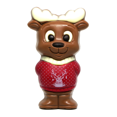 Chocolate reindeer in a sweater isolated on white background