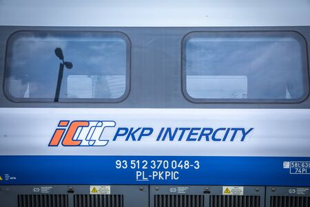 KRAKOW, POLAND - JULY 20, 2018; PKP Intercity High speed train Pendolino at platform in Cracow 新闻类图片
