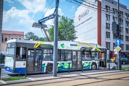 KRAKOW, POLAND - JULY 20, 2018; Electric bus Solaris Urbino 12 at Cracow