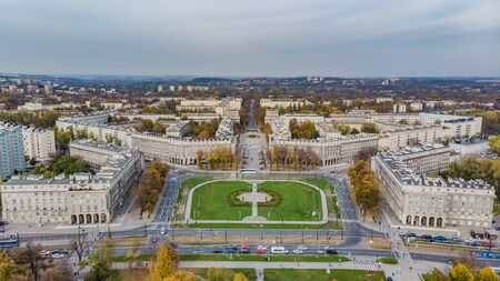 Nowa Huta, district of Krakow - Cracow, Poland. Aerial view of Plac Centralny (Ronald Regan's Central Square)