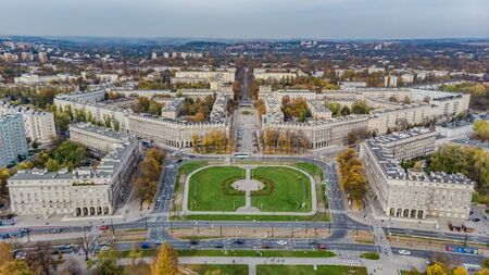Nowa Huta, district of Krakow - Cracow, Poland. Aerial view of Plac Centralny (Ronald Regan's Central Square) Banco de Imagens