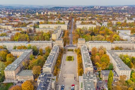 Nowa Huta, district of Krakow - Cracow, Poland. Aerial view of Plac Centralny (Ronald Regan's Central Square) 免版税图像