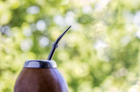 yerba mate: La yerba mate de calabaza en matero en el fondo verde bokeh. Identificador de la imagen: 419230096 Foto de archivo