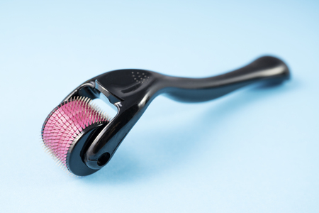 derma roller for medical micro needling therapy. Tool also known as: Dermaroller, mesoroller, mesoroller, mesopen.