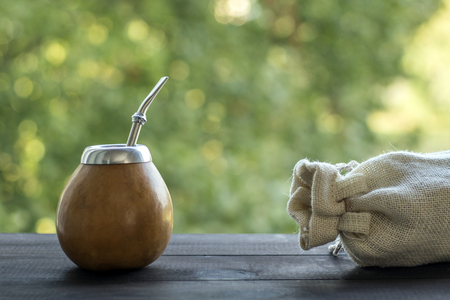 mate infusion: in yerba mate gourd and bombilla matero