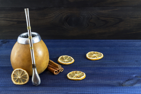 mate infusion: yerba mate gourd in matero Stock Photo