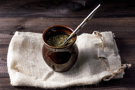 mate infusion: Yerba mate in ceramic matero