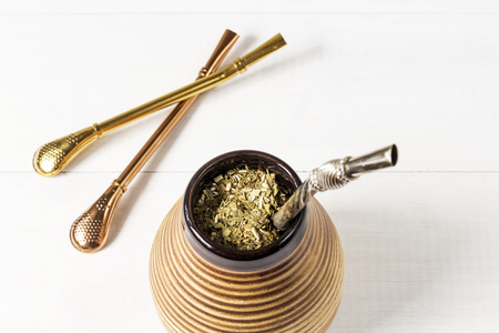 mate infusion: Fresh tasty yerba mate with dedicated accesories