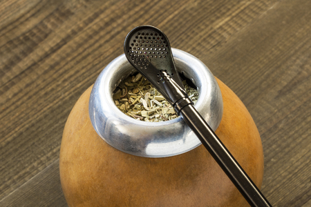 yerba mate with accesories. traditional latin american drink Stock Photo