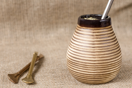 yerba mate: yerba mate with accesories. traditional latin american drink Foto de archivo