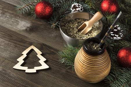 Yerba mate Christmas background Stock Photo