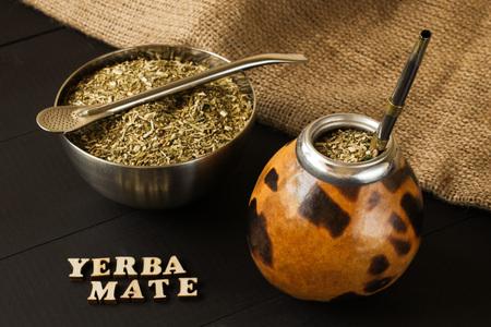 traditional yerba mate drink in gourd matero Foto de archivo