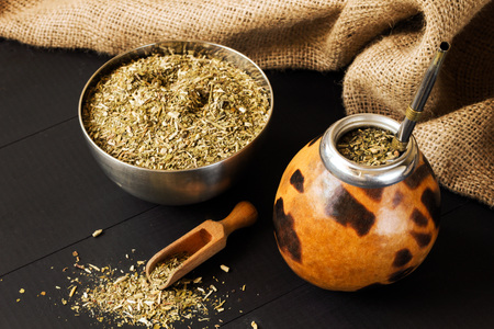 traditional yerba mate drink in gourd matero 写真素材
