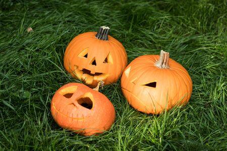 Halloween jack-o-lantern carved pumpkin decoration Stok Fotoğraf