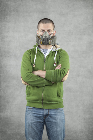 felonious: portrait of a man in a mask Stock Photo