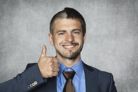 ambiguous: happy businessman with a funny haircut
