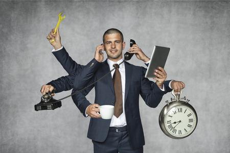 talented: multipurpose businessman Stock Photo