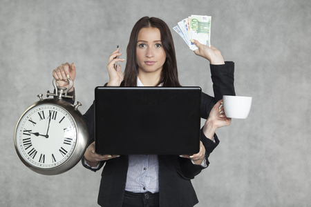 money time: businesswoman is very multitasking