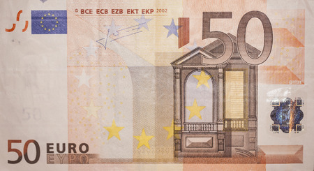 euro bill: Fifty euro bill, front