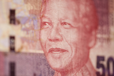 nelson mandela: portrait of Nelson Mandela at 50 rand