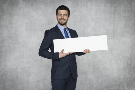 proudly: businessman proudly advertisement Stock Photo
