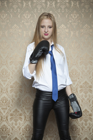 intimidating: i will fight for my business Stock Photo