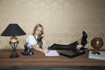 resourcefulness: business woman working in the office Stock Photo