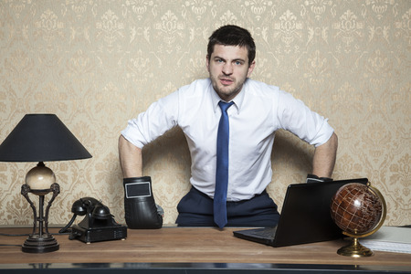 furious: angry and furious businessman Stock Photo