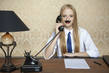 new contract: serious businesswoman and a new contract on the desk