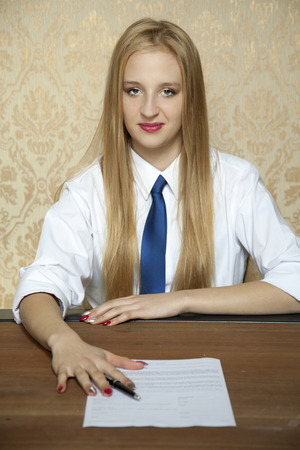 gives: businesswoman gives a new contract for you