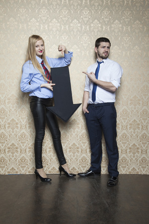 alternate: business woman has to choose alternate Stock Photo