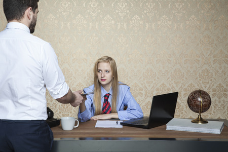 bribes: business woman accepts bribes