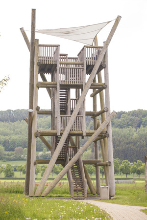 outpost: Observation tower for hunters Stock Photo