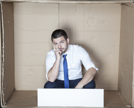 boor: employee is thinking about the slogan Stock Photo