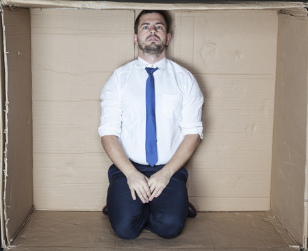 careerist: stress at a job interview Stock Photo