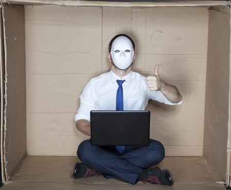 minimization: hacker with the thumb upwards