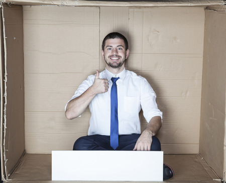cramped space: happy about new office Stock Photo