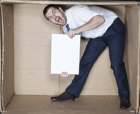 careerist: businessman calls for work Stock Photo