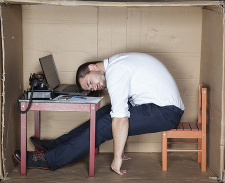 drowsiness: businessman sleeping in the office