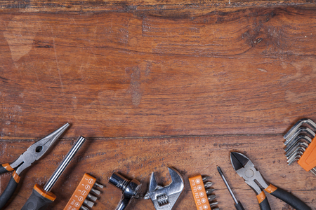 carpenter vise: various kinds of tools, view from the top Stock Photo
