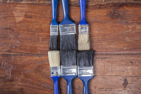 redecorate: set of brushes, view from the top Stock Photo