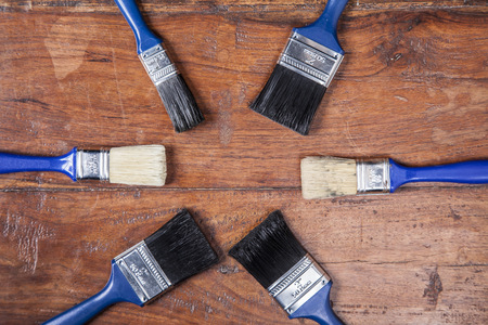 redecorate: set of brushes, copy space Stock Photo