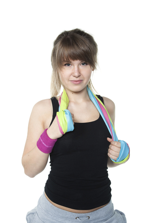 stretchy: woman with elastic on the neck Stock Photo