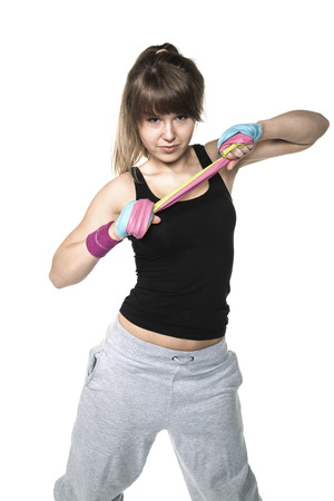 stretchy: determination to build muscle Stock Photo