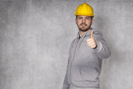 awkwardness: portrait of a manual worker Stock Photo